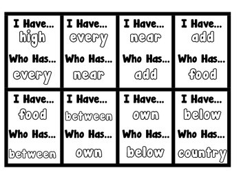 I Have, Who Has - Sight Word Game 201-250 (Set 5)