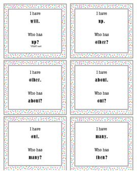 I Have, Who Has Sight Word Game 3
