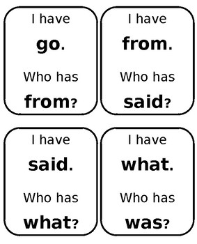 I Have...Who Has Sight Word Game