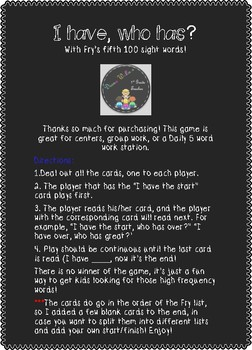 I Have, Who Has Sight Word Game 401-500 (Fourth Grade Frye Words)