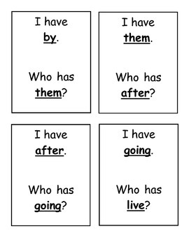I Have, Who Has? Sight Word Game- Dolch First Grade Words
