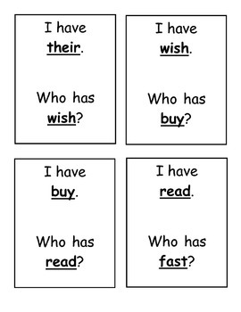 I Have, Who Has? Sight Word Game- Dolch Second Grade Words
