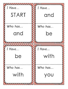 I Have Who Has Sight Word Game Fry 1-25 FREEBIE