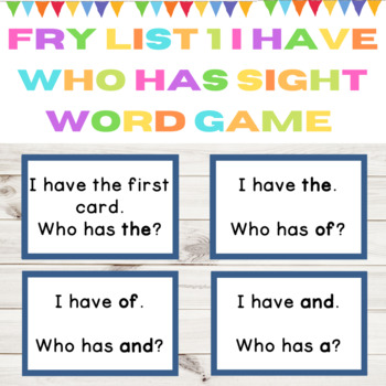 I Have Who Has Sight Word Game Fry List 1 from First 100 Words