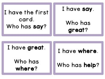 I Have Who Has High Frequency Sight Word Game Fry List 2 from 2nd 100 Words