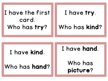 I Have Who Has High Frequency Sight Word Game Fry List 4 from 2nd 100 Words