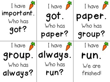 I Have, Who Has? Sight Word Game Fry Words 241-250 FREEBIE!