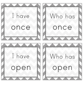 I Have, Who Has Sight Word Game (Grade 1)