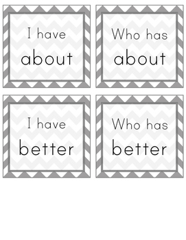 I Have, Who Has Sight Word Game (Grade 3)