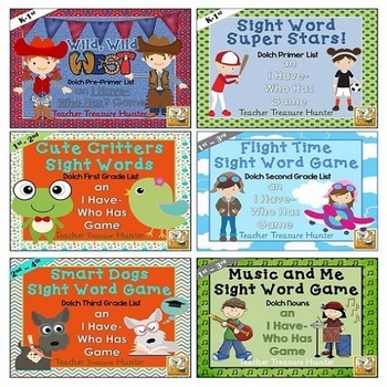 I Have - Who Has Sight Word Mega Bundle *6 games!!* Dolch Words