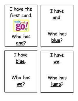 I Have, Who Has? Sight Word Game- PrePrimer Words