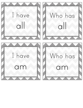I Have, Who Has Sight Word Game (Primer)