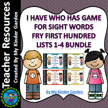 I Have Who Has Sight Word Games Fry First 100 Words List 1