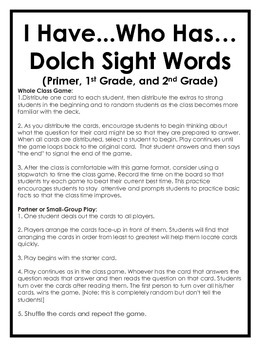 I Have Who Has Sight Words