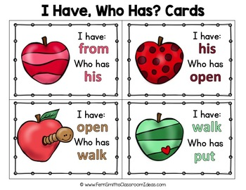 I Have Who Has Game Sight Words 1st Grade - Apples