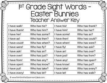 I Have, Who Has? Sight Words 1st Grade - Easter Bunnies