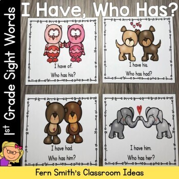 I Have Who Has Game Sight Words 1st Grade - St Valentine's Day Friends