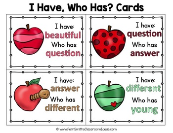 I Have Who Has Game Sight Words 3rd Grade - Apples