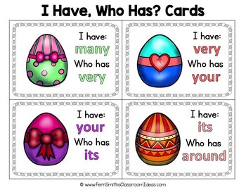 I Have, Who Has? Sight Words 2nd Grade - Easter Eggs