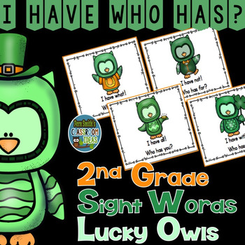 I Have Who Has Game Sight Words 2nd Grade - St Patrick's Day Lucky Owls