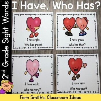 I Have, Who Has? Sight Words 2nd Grade - St Valentine's Day Happy Hearts