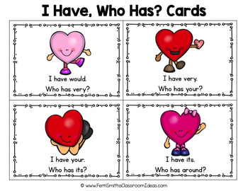 I Have Who Has Game Sight Words 2nd Grade - St Valentine's Day Happy Hearts