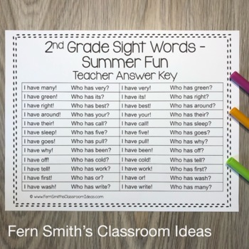 I Have Who Has Game Sight Words 2nd Grade - Summer Fun
