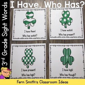 I Have, Who Has? Sight Words 3rd Grade - St Patrick's Day Shamrocks