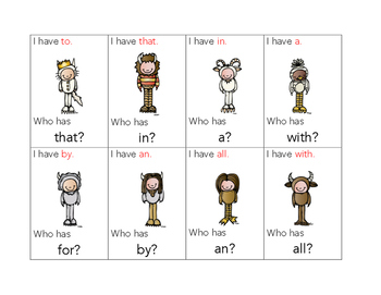 I Have... Who Has Sight Words Edition (from Where the Wild Things Are)