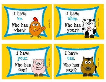 I Have... Who Has? Sight Words {Farm Animals Edition}