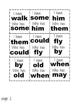 I Have Who Has Sight Words Game