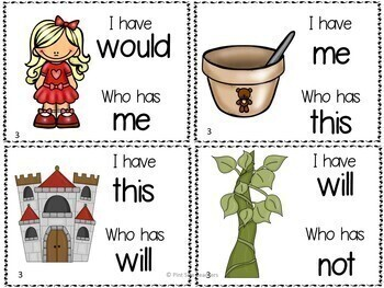 I Have Who Has Sight Words Games Fairy Tale Themed Lists 1 to 5
