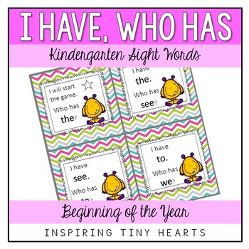 I Have Who Has - Sight Words- Kindergarten- Beginning of the Year