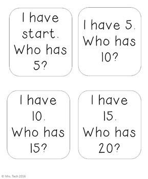 I Have Who Has - Skip Counting by 5's