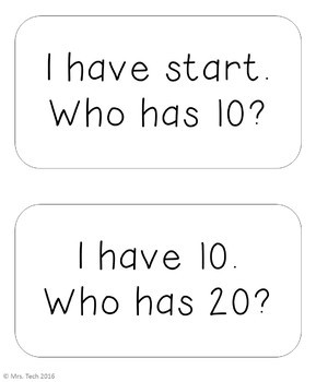 I Have Who Has - Skip Counting by 10's