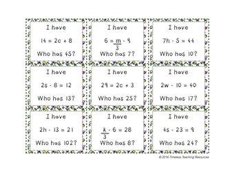 I Have Who Has: Solving Two Step Equations