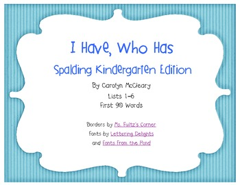 I Have, Who Has Spalding Kindergarten Lists 1-20