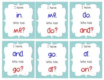 I Have, Who Has Spalding Kindergarten Lists 1-20