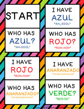 I Have, Who Has? Spanish Colors Game