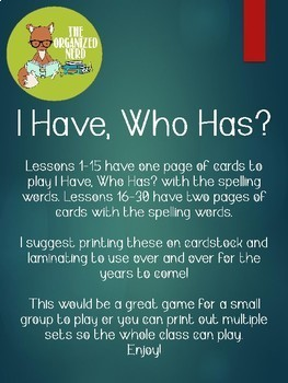 I Have, Who Has? Spelling Game - Grade 1 - Aligned with Journeys 2017: Units 1-6