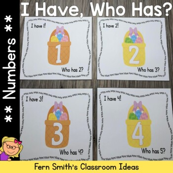 I Have Who Has Game Spring Basket Numbers 1-25 Cards