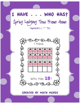 I Have . . . Who Has? Spring Ladybug Tens Frame 1-30 Game
