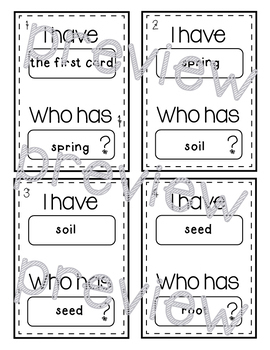 I Have, Who Has? Spring Vocabulary