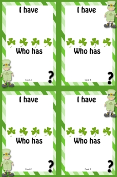I Have Who Has St Patrick S Day Game Templates Free Tpt