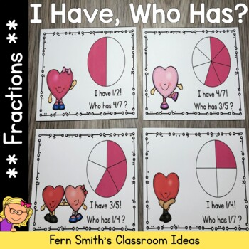I Have, Who Has? St Valentine's Day Fractions