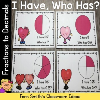 I Have, Who Has? St Valentine's Day Fractions to Decimals