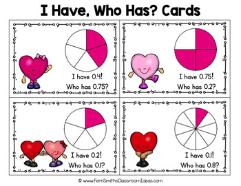 I Have Who Has Game St Valentine's Day Fractions to Decimals