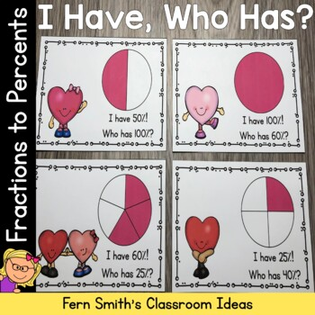 I Have, Who Has? St Valentine's Day Fractions to Percents
