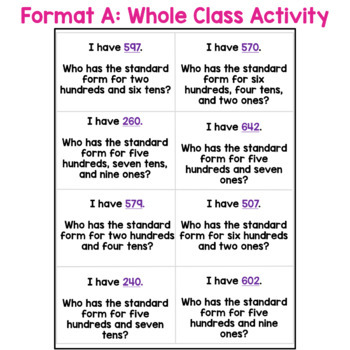 I Have... Who Has: Standard Form and Expanded Form (3 digit numbers)