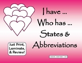 I Have... Who Has... State Abbreviations Review Game
